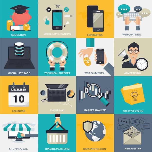Conjunto de ícones de negócios, gestão e tecnologia