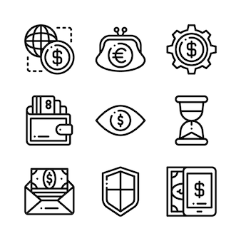 Conjunto de ícones de negócios. ícones para negócios, gestão, finanças, estratégia, marketing.