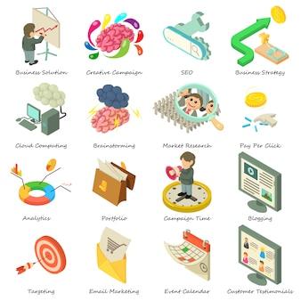 Conjunto de ícones de negócios. ilustração isométrica de 16 ícones de vetor de negócios para web