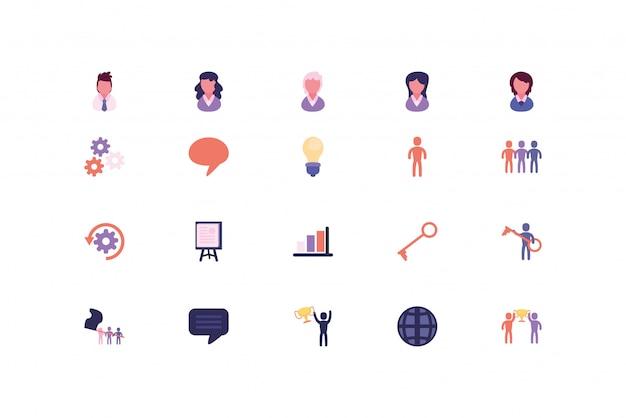 Conjunto de ícones de negócios isolados