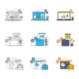 Conjunto de ícones de negócios modernos