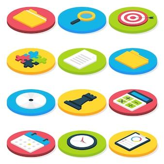 Conjunto de ícones de negócios plano isométrico círculo. conceitos de negócios vetoriais e conjunto de ícones de vida no escritório