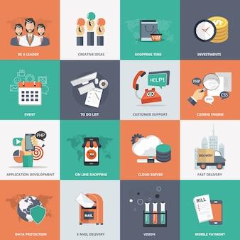 Conjunto de ícones de negócios, tecnologia e gerenciamento