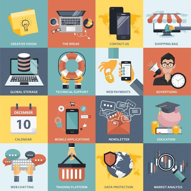 Conjunto de ícones de negócios, tecnologia, finanças e educação