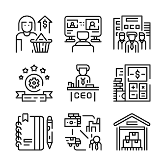 Conjunto de ícones de negócios.