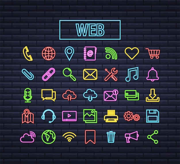 Conjunto de ícones de néon da web. o negócio. ícone de e-mail. bate-papo por vídeo. ilustração em vetor das ações.