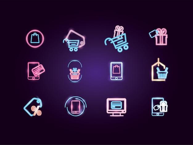 Conjunto de ícones de néon de compras e comércio eletrônico isolado