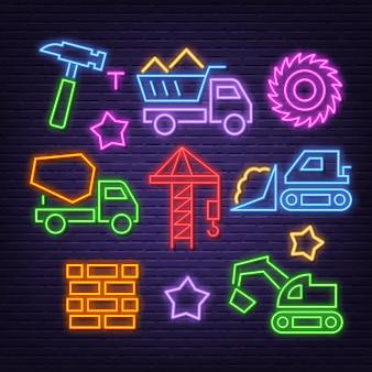 Conjunto de ícones de néon de construção