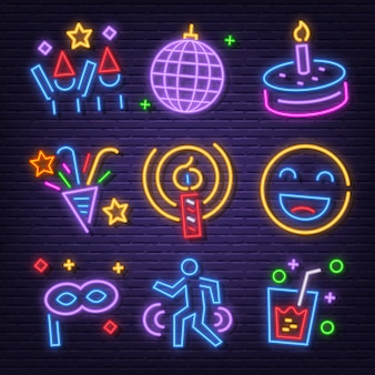 Conjunto de ícones de néon de festa de aniversário