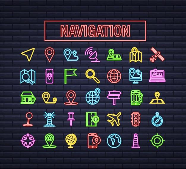 Conjunto de ícones de néon de mapa e navegação. ilustração em vetor das ações.