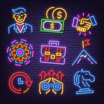 Conjunto de ícones de néon de negócios
