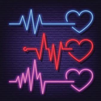 Conjunto de ícones de néon de pulsação cardíaca