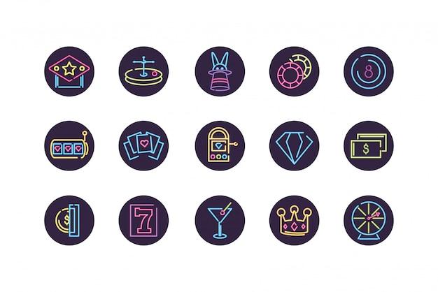 Conjunto de ícones de néon e cassino dentro de círculos vector design