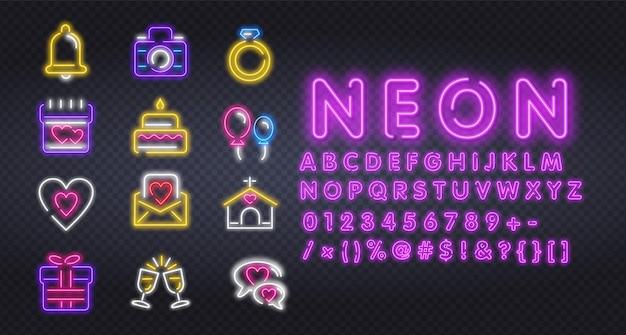 Conjunto de ícones de néon para ilustração do dia dos namorados
