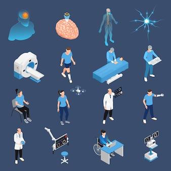 Conjunto de ícones de neurologia e cirurgia neural isométrico isolado