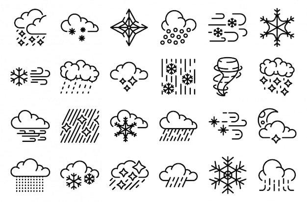 Conjunto de ícones de nevasca, estilo de estrutura de tópicos