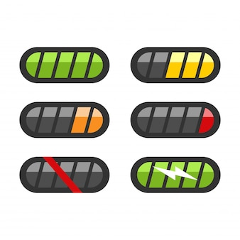 Conjunto de ícones de nível de bateria