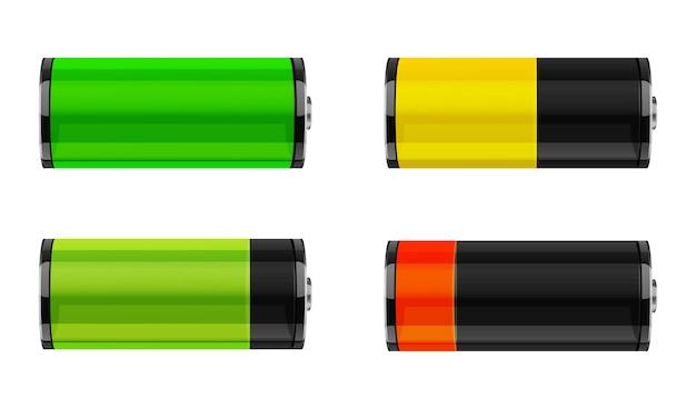Conjunto de ícones de nível de carga da bateria