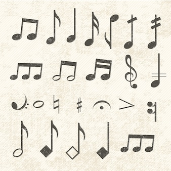 Conjunto de ícones de notas musicais vintage desgastado pelo tempo