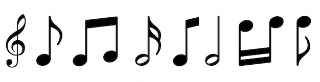 Conjunto de ícones de notas musicais.