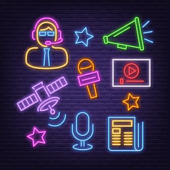 Conjunto de ícones de notícias neon