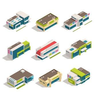 Conjunto de ícones de nove edifícios loja isométrica centro comercial edifícios conjunto vista superior ilustração vetorial