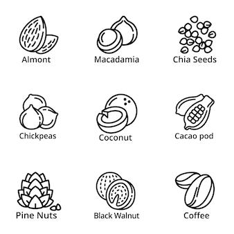Conjunto de ícones de nozes, estilo de estrutura de tópicos