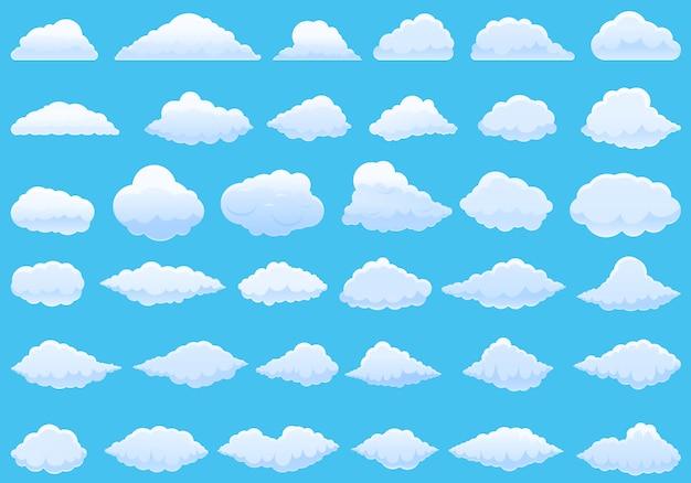 Conjunto de ícones de nuvem. conjunto de desenhos animados de ícones de vetor de nuvem