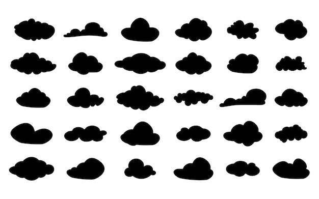 Conjunto de ícones de nuvem negra do vetor. silhueta de nuvens. símbolo de nuvem para o design do seu site, logotipo, aplicativo, interface do usuário. ilustração vetorial