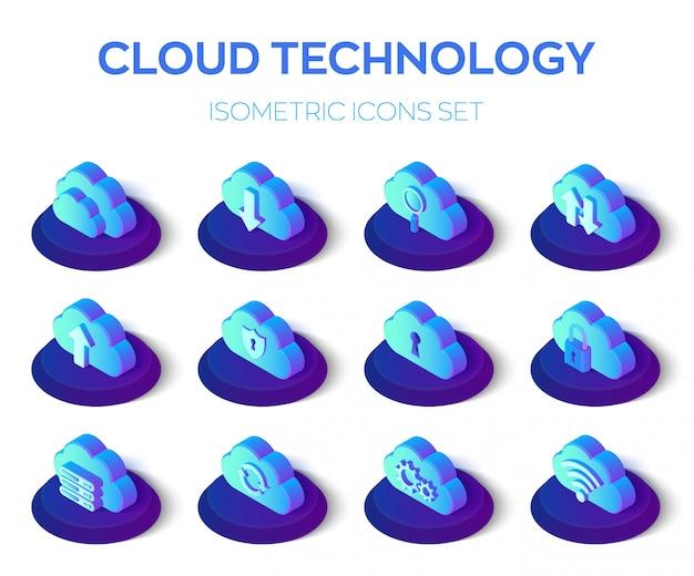 Conjunto de ícones de nuvem. tecnologia em nuvem. conjunto de ícones 3d isométrico.