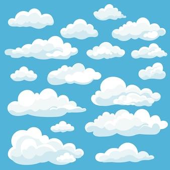 Conjunto de ícones de nuvens brancas de desenho animado isolado em azul