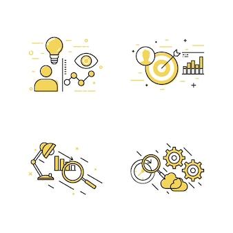 Conjunto de ícones de objetivo e conceito de negócio
