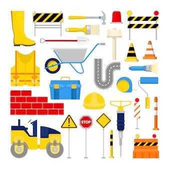 Conjunto de ícones de obras de construção de estrada com cone de trânsito e ferramentas.