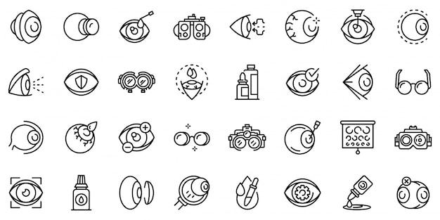 Conjunto de ícones de oculista, estilo de estrutura de tópicos