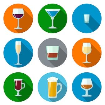 Conjunto de ícones de óculos de álcool de design plano de vetor