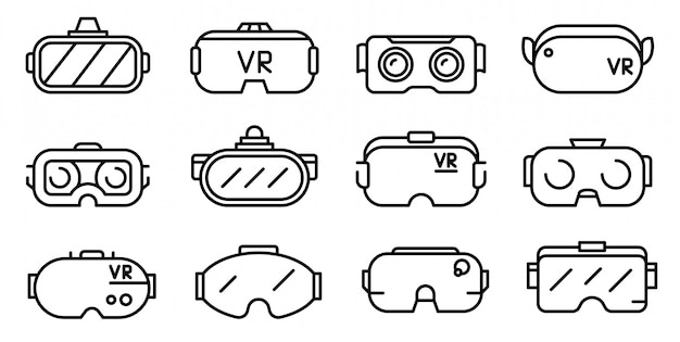 Conjunto de ícones de óculos de jogo, estilo de estrutura de tópicos