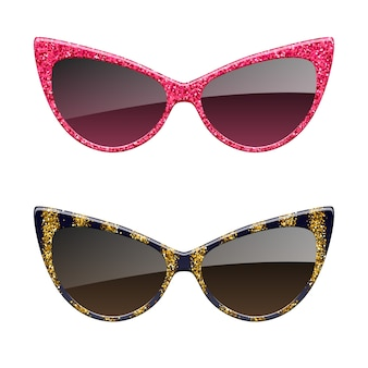 Conjunto de ícones de óculos de sol com glitter vermelho e dourado. acessórios de óculos de moda.