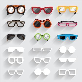 Conjunto de ícones de óculos e material branco com sombra