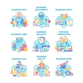 Conjunto de ícones de ocupação de negócios