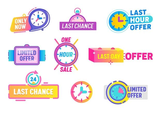 Conjunto de ícones de oferta limitada de última chance isolado no fundo branco.