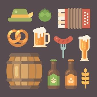 Conjunto de ícones de oktoberfest plana