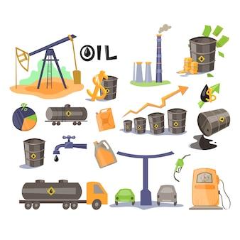 Conjunto de ícones de óleo.