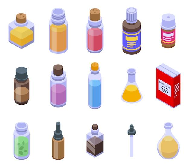 Conjunto de ícones de óleos essenciais, estilo isométrico
