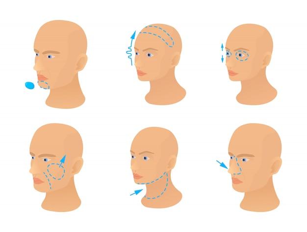 Conjunto de ícones de operação de cabeça