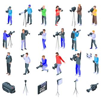 Conjunto de ícones de operador de câmara, estilo isométrico