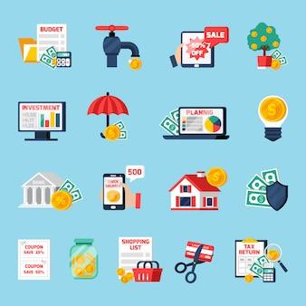 Conjunto de ícones de orçamento em casa