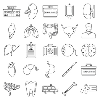 Conjunto de ícones de órgão de transplante, estilo de estrutura de tópicos