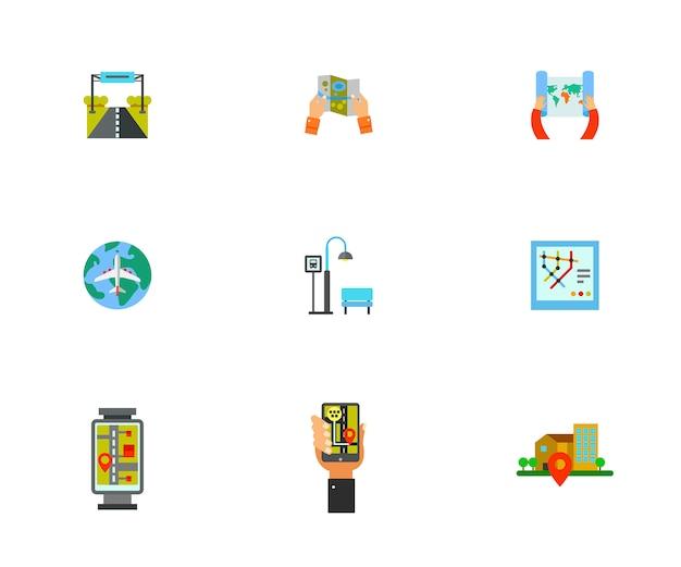 Conjunto de ícones de orientação