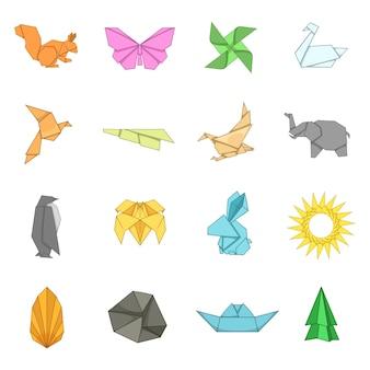 Conjunto de ícones de origami