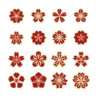 Conjunto de ícones de ornamento de flores